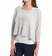 Beyond Yoga Variegated Sweater Knit Draped Boatneck Pullover VS7205