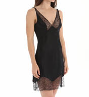 Calvin Klein Black Silk Chemise with Lace S2649