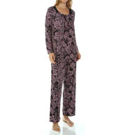 Carole Hochman Midnight Sweet Memories Floral Imprinted Long Pajama 139850P