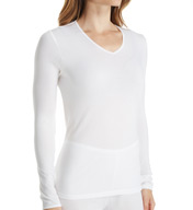 Cuddl Duds Softwear Lace Edge Long Sleeve V-Neck Shirt 8517535