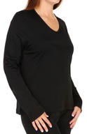 Cuddl Duds Softwear Lace Edge Long Sleeve V Neck Plus Size 9512335