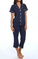 Dearfoams Short Sleeve Notch Collar Solid PJ 141108