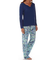 Dearfoams Thermal Notch V Printed PJ Set 143121