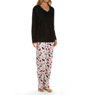 Dearfoams V Neck Fleece PJ Set 144114