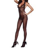 Dreamgirl Sheer Halter Bodystocking With Stretch Lace Trim 0128