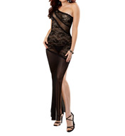 Dreamgirl Stretch Lace Long Gown With G-String 9681
