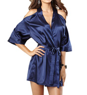 Dreamgirl Satin Charmeuse Kimono Robe With Cut-Out Shoulder 9706