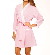 Eileen West Beach Bliss Seersucker Short Wrap Robe 5115929