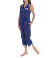 Eileen West Azure Notch Collar Capri Pajama 5715848