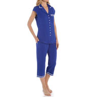 Eileen West Enchanting Waves Notch Collar Pajama Set 5715940