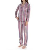 Ellen Tracy Fleece Stripe PJ Set 8715360