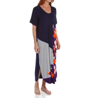 Ellen Tracy Enchanted Short Sleeve Long Caftan 8815431