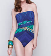 Gottex Emerald Boa Bandeau One Piece Swimsuit 15EM070