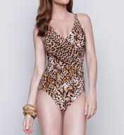 Gottex Maculato V-Neck One Piece Swimsuit 15MA159