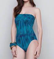 Gottex Mediterranean Sea Bandeau One Piece Swimsuit 15ME070