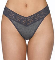 Hanky Panky Heather Lace Trim Original Rise Thong 681104