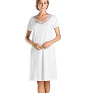 Hanro Savona Short Sleeve Embroidered Neck Sleep Gown 77352
