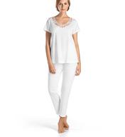 Hanro Savona Short Sleeve Embroidered Neck Pajama Set 77354