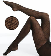 Hue Striped Diamond Tights With Control Top 15308
