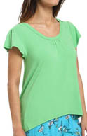 Hue Short Sleeve Tee With Shirring PJ42123