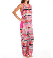 Josie by Natori Sleepwear Katina Printed Satin Tank Pajama Set X96120