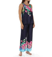 Josie by Natori Sleepwear Rimma Printed Satin Tank Pajama Set X96300