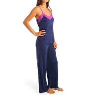 Josie by Natori Sleepwear Slinky Basics Cami Pajama Set with Lace Trim Y96028