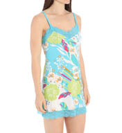 Josie by Natori Sleepwear Fleur Printed Chemise with Lace Trim Y98001