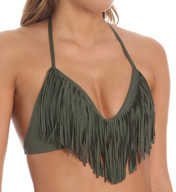 L Space Audrey Fringe Halter Swim Top FR56T14