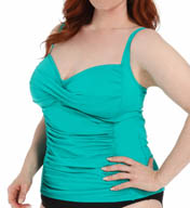 La Blanca Core Solid Plus Size Sweetheart Tankini Swim Top B5R088W