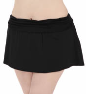 La Blanca Core Solid Plus Size Shirred Skirted Swim Bottom B5R092W