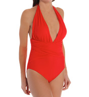 La Blanca Core Solid Plunge Halter One Piece Swimsuit LB5R019