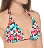 La Blanca Essence Chevron Slide Foam Cup Halter Swim Top LB5R680