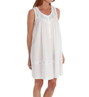La Cera White Cotton Embroidered Short Gown With Pockets 1163C