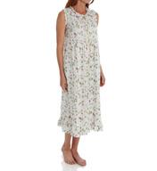 La Cera Sleeveless Cotton Nightgown With Pockets 1277G