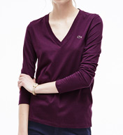 Lacoste Long Sleeve Cotton Jersey V-Neck T-Shirt TF2095-51