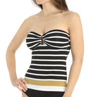 Lauren Ralph Lauren Swimwear Lurex Stripe Ring Front Bandini Swim Top LR55B85