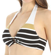 Lauren Ralph Lauren Swimwear Lurex Stripe Ring Halter Soft Cup Bikini Swim Top LR55B87