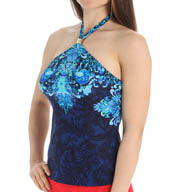Lauren Ralph Lauren Swimwear Engineered Scarf Print Hi Neck Tankini Swim Top LR55F89