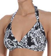 Lauren Ralph Lauren Swimwear Deauville Paisley Twist Molded Cup Halter Swim Top LR5F287