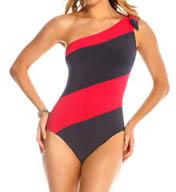 MagicSuit One Shoulder Jane Striped One Piece Swimsuit 453602