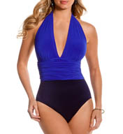 MagicSuit Colorblock Jersey Yves Ruched Waist Swimsuit 453617