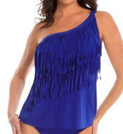 MagicSuit One Shoulder Underwire Fringe Tankini Swim Top 453623