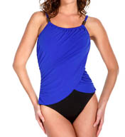 MagicSuit Two Tone Lisa Draped Jersey Halter One Piece 453655