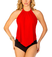 MagicSuit Solid Nicole Shelly Ruched Halter Tie Tankini 453669