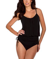 MagicSuit Solid Jersey Shelly Tie Waist Tankini Swim Top 453674