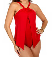 MagicSuit Solid Tara Twist Neck Halter One Piece 453684