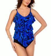 MagicSuit Blue Jasmine Rita All Over Tiered Tankini Swim Top 454744