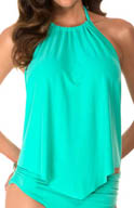 MagicSuit Solid Nicole Halter Tankini Swim Top 475669