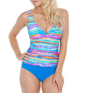 Maidenform Beach Wave Runner One Piece Shirred Swimsuit 4465002